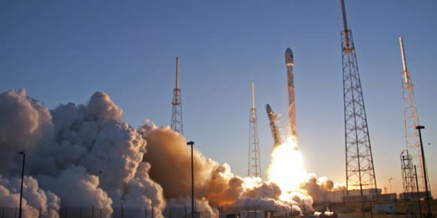 An unmanned Falcon 9 SpaceX rocket lifts off from launch complex 40 at the Cape Canaveral Air Force Station, Wednesday, Feb. 11, 2015, in Cape Canaveral, Fla. On board is the Deep Space Climate Observatory, which will head toward a solar-storm lookout point a million miles away. (AP Photo/John Raoux)