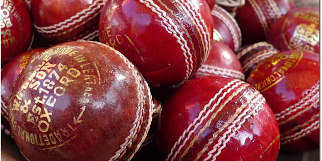 """<a href=""""http://bighugelabs.com/flickr/onblack.php?id=3355360781&size=large&bg=white"""">View large</a> Cricket balls for sale at Portobellow market, London.  Cricket balls are made from a core of cork, which is layered with tightly wound string, and covered by a leather case with a slightly raised sewn seam. Cricket balls are traditionally dyed red, and red balls are used in Test cricket and First-class cricket. As of 2007, the ball used in first class cricket in England has a recommended retail price of £70.  Because a single ball is used for an extended period of play, its surface wears down and becomes rough. The bowlers will polish it whenever they can - usually by rubbing it on their trousers, producing the characteristic red stain that can often be seen there. However, they will usually only polish one side of the ball, in order to create 'swing' as it travels through the air."""