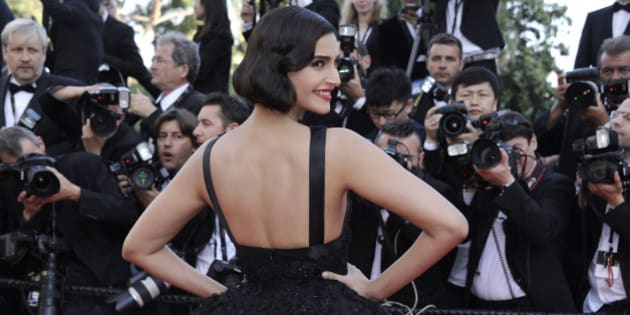 Sonam Kapoor arrives for the screening of The Homesman at the 67th international film festival, Cannes, southern France, Sunday, May 18, 2014. (Photo by Arthur Mola/Invision/AP)