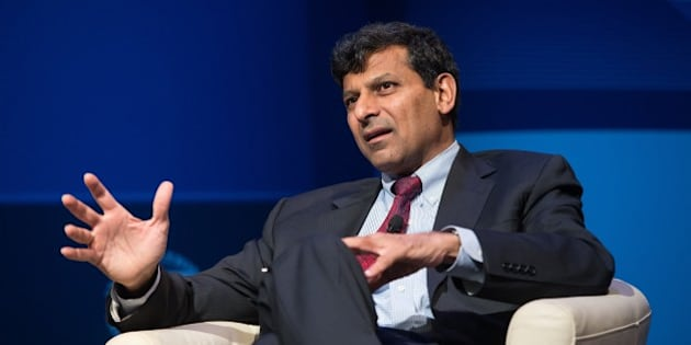 Raghuram Rajan, Governor of the Reserve Bank of India, speaks during a discussion entitled 'The New Normal in Asia: Will Growth Inevitably Slow?' at the IMF/WB Spring Meetings in Washington, DC, on April 16, 2015.    AFP PHOTO/NICHOLAS KAMM        (Photo credit should read NICHOLAS KAMM/AFP/Getty Images)