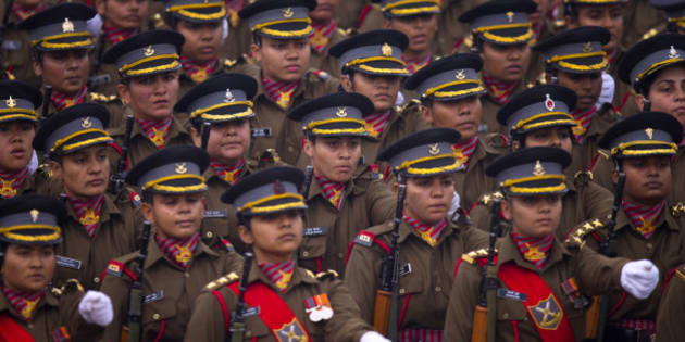 Indian women soldiers march down Rajpath, a ceremonial boulevard that runs from Indian President's palace to war memorial India Gate, during the full dress rehearsal ahead of Republic Day parade in New Delhi, India, Friday, Jan. 23, 2015. U.S President Barack Obama will be the chief guest during this year's parade which will be held on Jan. 26. (AP Photo/Saurabh Das)