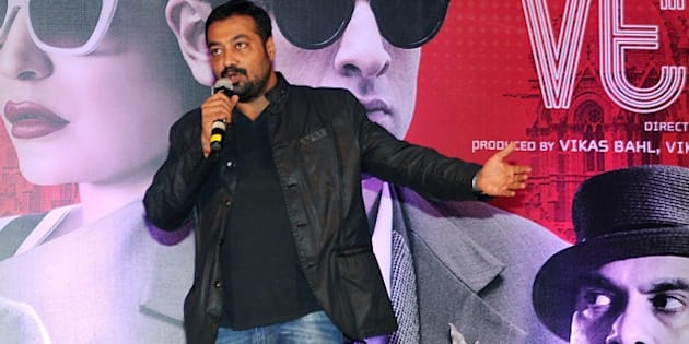 Indian Bollywood writer, director and producer Anurag Kashyap speaks during a promotional event for his forthcoming Hindi film 'Bombay Velvet' in Mumbai on late April 27, 2015. AFP PHOTO / STR        (Photo credit should read STRDEL/AFP/Getty Images)