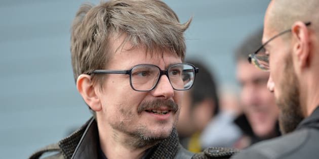 PONTOISE, FRANCE - JANUARY 16:  Charlie Hebdo cartoonist Renald Luzier (L) aka 'Luz' after the funeral service of Charlie Hebdo editor and cartoonist Stephane Charbonnier aka 'Charb' in his hometown on January 16, 2015 in Pontoise, France. Charlie Hebdo's editor Stephane Charbonnier was amoungst those killed in last weeks terrorist attack on the satirical newspaper.  (Photo by Aurelien Meunier/Getty Images)