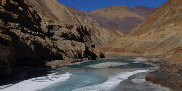 Scenic Zanskar river - beginning to freeze - once completely frozen, the famous Chadar trek on the river begins
