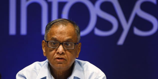 FILE- In this June 15, 2013 file photo, Infosys Executive Chairman N. R. Narayana Murthy reacts to a shareholders comment during the company's 32th Annual General Meeting in Bangalore, India.  In 2013 Infosys was accused of bringing thousands of foreign workers to the United States using incorrect visas, but denied any allegations as part of the settlement reached with a $34 million settlement in Texas. (AP Photo/Aijaz Rahi)