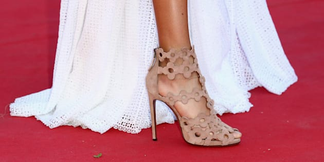 CANNES, FRANCE - MAY 20:  Joan Smalls, shoe detail, attends the 'Youth'  Premiere during the 68th annual Cannes Film Festival on May 20, 2015 in Cannes, France.  (Photo by Andreas Rentz/Getty Images)