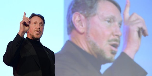 Larry Ellison, CEO of Oracle Corporation, gestures as he makes a speech during the New Economy Summit 2014 in Tokyo on April 9, 2014.  More than 1,000 business leaders, entrepreneurs, businessmen and students took part in the two-day forum.     AFP PHOTO/Toru YAMANAKA        (Photo credit should read TORU YAMANAKA/AFP/Getty Images)