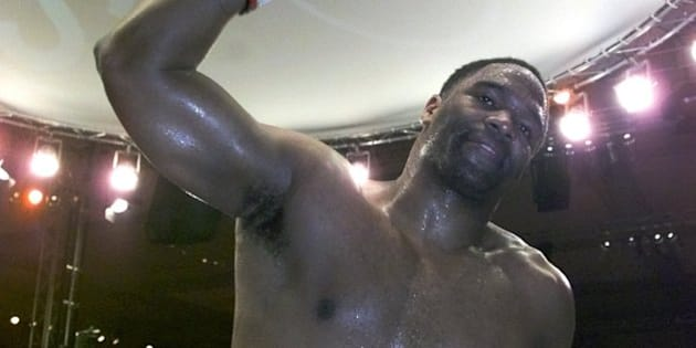 The new WBO heavyweight champion Chris Byrd , celebrates after defeating Vitali Klitschko, from the Ukraine, in Berlin, Saturday night, April 1, 2000.  Byrd won the title after Klitschko retired after the 9th round because of a shoulder injury.  Byrd,  was a late substitute for Donovan ``Razor'' Ruddock, who pulled out because of a stomach injury. (AP Photo/Roberto Pfeil)