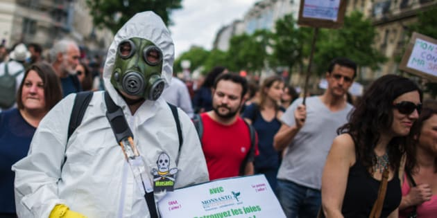 Protesters participate, during a World March Against Monsanto, in Paris, France, during a global day of action against the agricultural biotechnology company, in Paris, Saturday, May 23 2015. Marches and rallies against Monsanto, a sustainable agriculture company and genetically modified organisms (GMO) food and seeds were held in dozens of countries in a global campaign highlighting the dangers of GMO Food. (AP Photo/Kamil Zihnioglu)