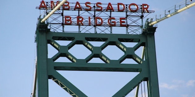 1929 Ambassador Bridge over the Detroit River between Detroit and Windsor.