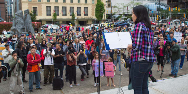 Affordable Housing Protest Rally, at the Vancouver Art Gallery. Sunday, May 24th 2015. Vancouver British Columbia, Canada.