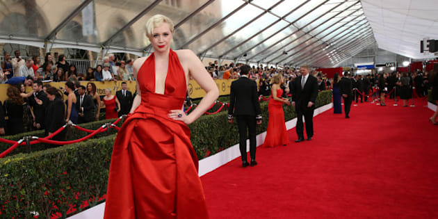 Gwendoline Christie arrives at the 21st annual Screen Actors Guild Awards at the Shrine Auditorium on Sunday, Jan. 25, 2015, in Los Angeles. (Photo by Brian Dowling/Invision for People/AP Images)