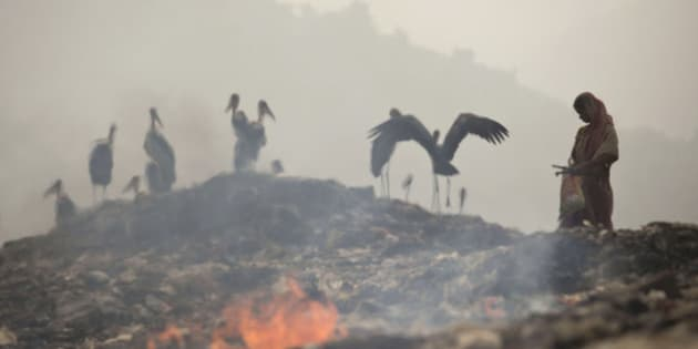 Smoke rises from burning garbage as an Indian woman looks for recyclable material near resting greater adjutant storks at a dumping site on the outskirts of Gauhati, India, Friday, Nov. 14 2014. This week's China-U.S. climate agreement between the world's top two polluters puts pressure on India, No. 3 on the list, to become more energy efficient and should encourage investment in renewable energy. China emits a quarter of the world's greenhouse gases, the United States 15 percent and India about 6 percent. (AP Photo/Anupam Nath)