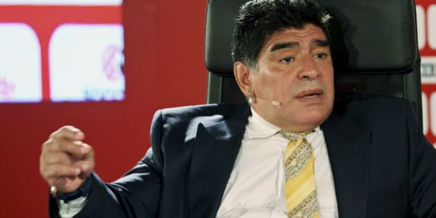 Argentina football legend Diego Maradona speaks on the second day of the SoccerEx Asian Forum conference in Southern Shuneh, Jordan, Monday, May 4, 2015. (AP Photo/Raad Adayleh)
