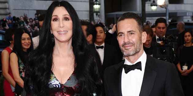 """Cher, left, and Marc Jacobs arrive at The Metropolitan Museum of Art's Costume Institute benefit gala celebrating """"China: Through the Looking Glass"""" on Monday, May 4, 2015, in New York. (Photo by Charles Sykes/Invision/AP)"""