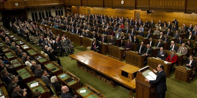 French President Francois Hollande delivers a speech in the House of Commons Chamber on Parliament Hill on November 03, 2014 in Ottawa. Hollande is on a three-day state visit to Canada. AFP PHOTO/ ALAIN JOCARD        (Photo credit should read ALAIN JOCARD/AFP/Getty Images)