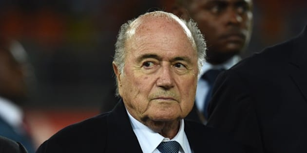 FIFA president Sepp Blatter attends the 2015 African Cup of Nations final football match between Ivory Coast and Ghana in Bata on February 8, 2015. AFP PHOTO / CARL DE SOUZA        (Photo credit should read CARL DE SOUZA/AFP/Getty Images)