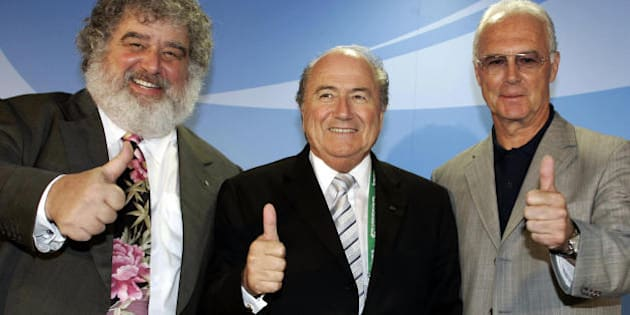 FRANKFURT/MAIN, Germany:  FIFA President Joseph Blatter (C), Chairman of the Organising Committee for the FIFA 2006 World Cup Franz Beckenbauer (R) and Chairman of the Organising Committee for the FIFA 2005 Confederations Cup Chuck Blazer pose in Frankfurt 27 June 2005 during a press conference where they presented a statistical wrap-up after the football tournament's semi-finals. Argentina and Brazil will fight out the competition's final on 29 June 2005 in Frankfurt.   AFP PHOTO TORSTEN SILZ  (Photo credit should read TORSTEN SILZ/AFP/Getty Images)