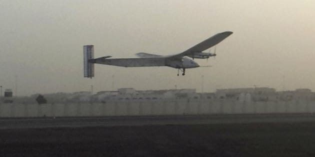 FILE - In this Monday, March 9, 2015 file photo, a Swiss solar-powered plane takes off at an airport in Abu Dhabi, United Arab Emirates, marking the start of the first attempt to fly around the world without a drop of fuel. The Solar Impulse 2 landed in Myanmar on Thursday night, March 19, the third leg of a round-the-world trip aimed at highlighting clean energy. (AP Photo/Aya Batrawy, File)