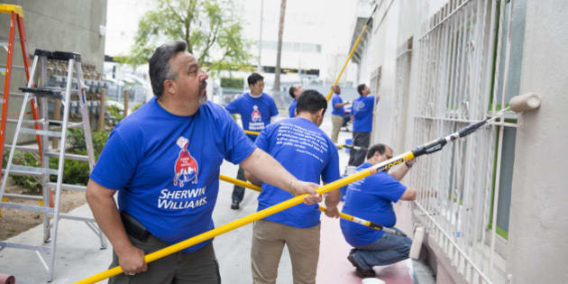 IMAGE DISTRIBUTED FOR SHERWIN-WILLIAMS - Thousands of Sherwin-Williams employees joined forces with painting contractors and local volunteers to refresh hundreds of community organizations across the U.S. and Canada during National Painting Week, on Tuesday, May 12, 2015 in Los Angeles. (Photo by Colin Young-Wolff/Invision for Sherwin-Williams/AP Images)