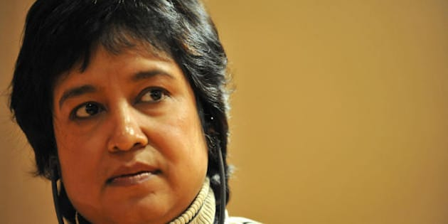 Bangladeshi writer Taslima Nasreen  listens as she attends  the 4th edition of the Women's Forum for the Economy and Society  'Building the future with women's vision'  on October 17, 2008 in Deauville.    AFP PHOTO  MYCHELE DANIAU (Photo credit should read MYCHELE DANIAU/AFP/Getty Images)