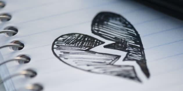 Drawing depicting broken heart