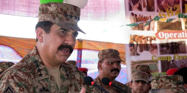 Pakistani army chief Raheel Sharif addresses internally displaced Pakistani civilians fleeing a military operation against Taliban militants in the North Waziristan tribal agency during a ceremony to mark the countrys Defence Day in Bannu, near the North Waziristan border, on September 6, 2014. Pakistan's military said on September 3, 2014 it had killed more than 900 militants and lost 82 soldiers since the start of a major operation against the Taliban in the tribal northwest in June 2014. The military began a long-awaited push to clear insurgent bases from North Waziristan district, on the Afghan border, after a bloody attack on Karachi airport finally sank stuttering peace talks with the rebels. AFP PHOTO / KARIM ULLAH        (Photo credit should read KARIM ULLAH/AFP/Getty Images)