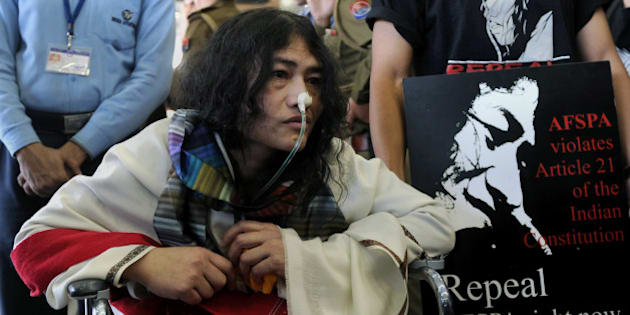 Social activist from Manipur, Irom Sharmila, who has been on a fast for 12 years demanding the repeal of the controversial Armed Forces Special Powers Act (AFSPA), arrives at the Indira Gandhi International Airport in New Delhi on March 3, 2013.   Sharmila, who launched her fast unto death in 2000 in Manipur, is due to appear in a Delhi court under the IPC 309 - attempt to commit suicide - for fasting at Jantar Mantar in New Delhi on a previous occasion. The jailed activist is fed through her nose in the security ward of the Jawaharlal Nehru Institute of Medical Sciences hospital in Imphal.   AFP PHOTO/SAJJAD HUSSAIN        (Photo credit should read SAJJAD HUSSAIN/AFP/Getty Images)