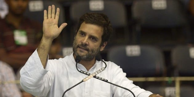 Congress party vice president Rahul Gandhi addresses Congress workers during a rally at the Netaji Indoor Stadium in Kolkata on June 6, 2015. Rahul Gandhi came to the state for a day long visit to attend several political programs and meet the labourers and farmers of the state.  AFP PHOTO/ Dibyangshu SARKAR        (Photo credit should read DIBYANGSHU SARKAR/AFP/Getty Images)