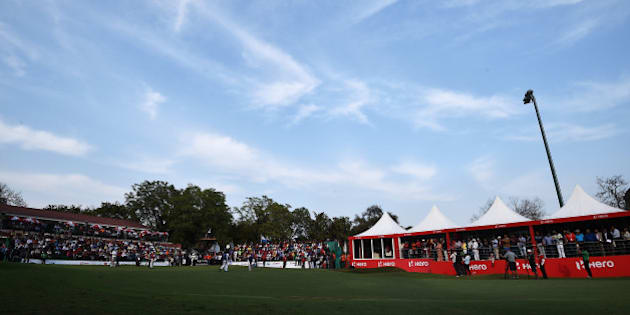 NEW DELHI, INDIA - FEBRUARY 22:  A general view of the 18th hole during the final round of the Hero India Open Golf at Delhi Golf Club on February 22, 2015 in New Delhi, India.  (Photo by Stuart Franklin/Getty Images)