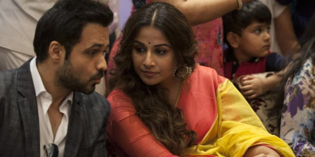 "Bollywood actress Vidya Balan, right, listens to actor Emran Hashmi during a promotional event of their forthcoming movie ""Hamari Adhuri Kahani"" in New Delhi, India, Wednesday, June 10, 2015. Hamari Adhuri Kahani or Our Incomplete Story, a romantic drama is scheduled to hit the theaters on June 12. (AP Photo/Tsering Topgyal)"