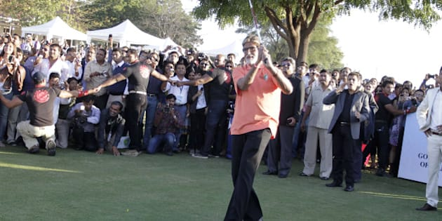 Bollywood actor Amitabh Bachchan tees off to inaugurate the 'Gujarat Kensville Challenge' at Kensville Golf Club near Ahmadabad, India, Wednesday, Jan. 12, 2011. The European Challenge Tour is making its first visit to India with the inauguration of the Gujarat Kensville Challenge which was formally kicked off by Bachchan on Jan. 12. (AP Photo/Ajit Solanki)