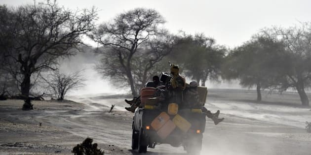 Nigerien soldiers patrol in Bosso, near the Nigerian border, on May 25, 2015. Niger has extended for three months the state of emergency in its southeastern Diffa region where the army has been battling Boko Haram militants since February, authorities announced on May 27, 2015.  AFP PHOTO / ISSOUF SANOGO        (Photo credit should read ISSOUF SANOGO/AFP/Getty Images)