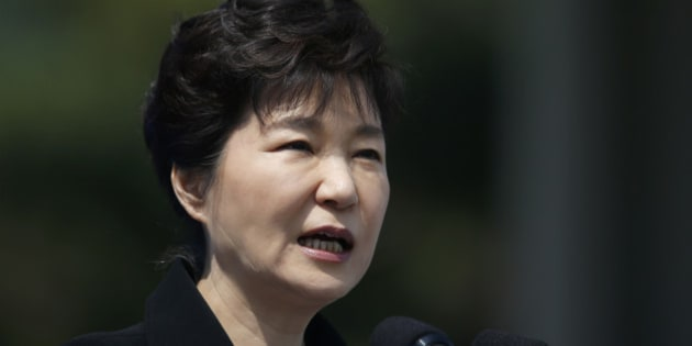 South Korean President Park Geun-hye delivers a speech during a ceremony marking Memorial Day at the National Cemetery in Seoul, South Korea, Saturday, June 6, 2015. South Korea marked the 60th anniversary of Memorial Day for those killed in the 1950-53 Korean War. (Kim Hong-Ji/Pool Photo via AP)