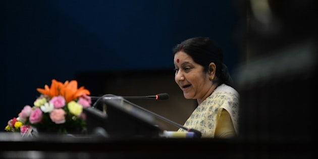 Indian Foreign Minister Sushma Swaraj addresses a press conference in New Delhi on May 31, 2015. Swaraj held a press conference to mark the first anniversary of Prime Minister Narendra Modi's government. AFP PHOTO / SAJJAD HUSSAIN        (Photo credit should read SAJJAD HUSSAIN/AFP/Getty Images)