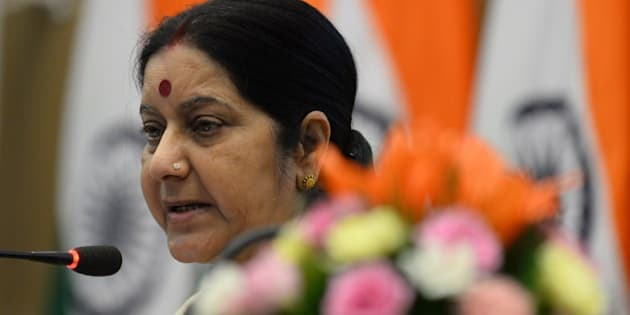 Indian Foreign Minister Sushma Swaraj addresses a press conference in New Delhi on May 31, 2015. Swaraj held the press conference to mark the first anniversary of Prime Minister Narendra Modi's government. AFP PHOTO / SAJJAD HUSSAIN        (Photo credit should read SAJJAD HUSSAIN/AFP/Getty Images)