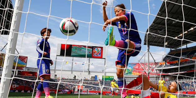 WINNIPEG, MB - JUNE 16:  Yuki Ogimi #17 of Japan scores the first goal against Angie Ponce #6 of Ecuador during the FIFA Women's World Cup Canada 2015 Group C match between Ecuador and Japan at Winnipeg Stadium on June 16, 2015 in Winnipeg, Canada.  (Photo by Kevin C. Cox/Getty Images)