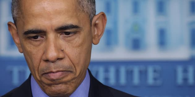 WASHINGTON, DC - JUNE 18:  U.S. President Barack Obama pauses as he makes a statement regarding the shooting in Charleston, South Carolina, June 18, 2015 at the James Brady Press Briefing Room of the White House in Washington, DC. Authorities have arrested 21-year-old Dylann Roof of Lexington County, South Carolina, as a suspect in last night's deadly shooting at the Emanuel AME Church in Charleston, South Carolina, killing nine people.  (Photo by Alex Wong/Getty Images)