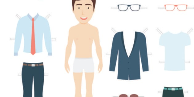 Vector Illustration of Cute Businessman Paper Doll with Set of Clothes for Cutting.