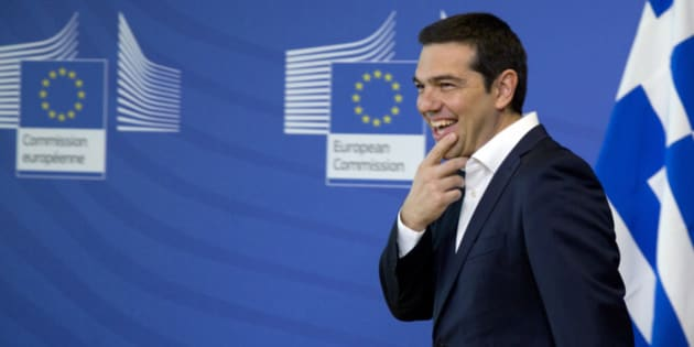 Greek Prime Minister Alexis Tsipras arrives for a meeting with European Commission President Jean-Claude Juncker prior to an EU summit at EU headquarters in Brussels on Monday, June 22, 2015. Heads of state in the eurogroup will meet in Brussels on Monday for a special summit to discuss the financial crisis with Greece. (AP Photo/Virginia Mayo)