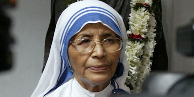 Sister Nirmala, Superior General of the Missionaries of Charity, the order founded by Mother Teresa, speaks to the media on Mother's 97th birth anniversary in Calcutta, India, Sunday, August 26, 2007. Mother Teresa, 1979 Nobel Peace Prize winner, was born as Agnes Gonxha Bojaxhiu in Skopje, Macedonia, on Aug. 27, 1910 and died in Calcutta on Sept. 5, 1997. In the background is a statue of the Mother.(AP Photo/Bikas Das)