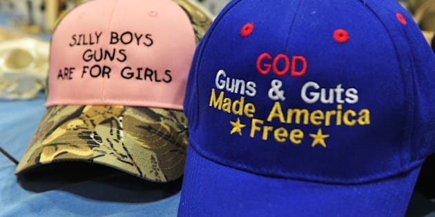 Merchandise for sale is displayed at the 2015 NRA Annual Convention in Nashville, Tennessee on April 10, 2015.  The annual NRA meeting and exhibit, expected to draw over 70,000 people, runs till April 12. AFP PHOTO / KAREN BLEIER        (Photo credit should read KAREN BLEIER/AFP/Getty Images)