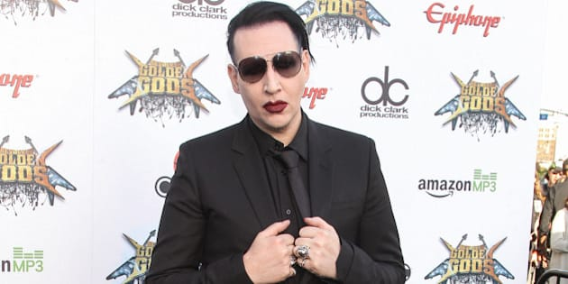 Marilyn Manson attends the 6th Annual Revolver Golden Gods Award Show at Club Nokia on April 23, 2014 in Los Angeles, California.  (Photo by Paul A. Hebert/Invision/AP)