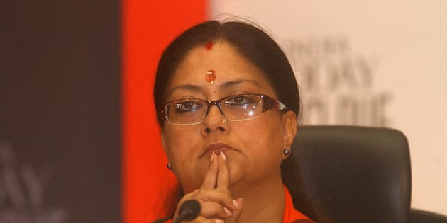 Chief Minister of Rajasthan state Vasundhara Raje Scindia looks on during the India Today Conclave titled India Tomorrow 2006 Bridging the Divide in New Delhi, India, Friday, March 10, 2006. The conclave is an annual event for exchange of ideas among political leaders, Nobel laureates, policy makers, writers, actors and business leaders, according to organizers. (AP Photo/Ajit Kumar)