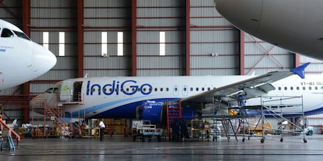 In this photograph taken on November 10, 2014 an aircraft of the Indian budget carrier IndiGo undergoes maintenance at the Sri Lankan airlines technical service centre at the main international airport in Colombo.  Sri Lanka has decided to build its own aircraft repair, maintenance and overall (MRO) facility targeting regional airlines after scrapping joint venture plans with a German company, officials said November 11, 2014.  AFP PHOTO / LAKRUWAN WANNIARACHCHI        (Photo credit should read LAKRUWAN WANNIARACHCHI/AFP/Getty Images)
