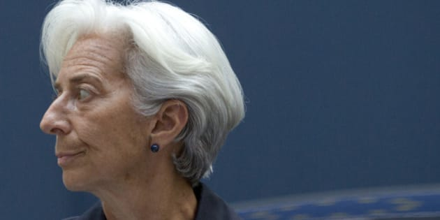 Managing Director of the International Monetary Fund Christine Lagarde arrives for a meeting of eurogroup finance ministers in Brussels on Saturday, June 27, 2015. Anxiety over Greece's future swelled on Saturday after Prime Minister Alexis Tsipras' call to have the people vote on a proposed bailout deal which could increase the risk that the country might fall out of the euro. (AP Photo/Virginia Mayo)