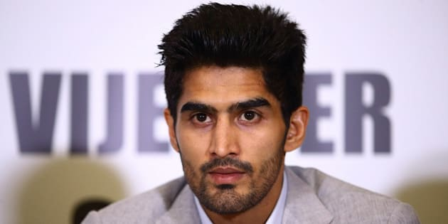 LONDON, ENGLAND - JUNE 29:  Vijender Singh talks during a Press Conference at the Cinnamon Club on June 29, 2015 in London, England.  (Photo by Jordan Mansfield/Getty Images)