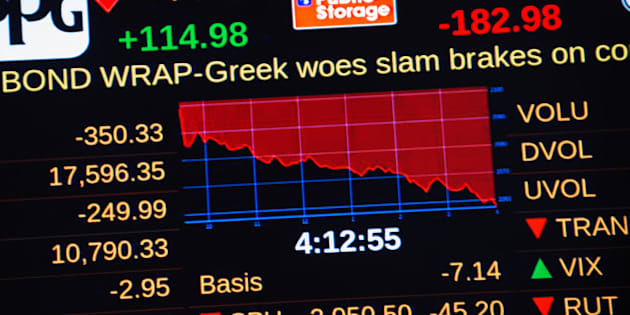 NEW YORK, NY - JUNE 29:  A headline concerning Greece's debt crisis scrolls across a stock ticker at the New York Stock Exchange in the afternoon on June 29, 2015 in New York City. The Dow plunged 300 points as the Greek debt crisis worsened amid fears that Greece will be unable to pay the almost $1.8 billion that it owes the International Monetary Fund on Tuesday. (Photo by Bryan Thomas/Getty Images)