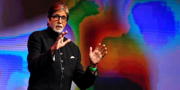 Indian Bollywood actor Amitabh Bachchan speaks during a launch event in Mumbai on June 19, 2015.   AFP PHOTO        (Photo credit should read STR/AFP/Getty Images)