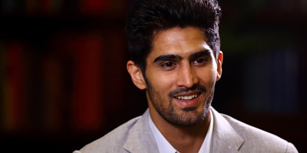 LONDON, ENGLAND - JUNE 29:  Vijender Singh gives a TV interview during a Press Conference at the Cinnamon Club on June 29, 2015 in London, England.  (Photo by Jordan Mansfield/Getty Images)